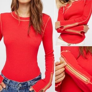 Free People Zip it Cuff Thermal in Red
